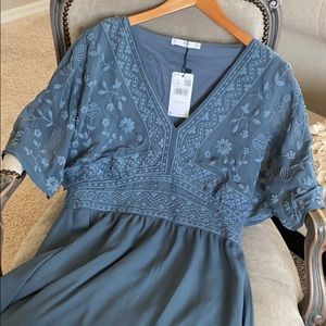 Mango Blue floral embroidered dress size Large